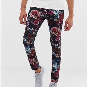 Other - Men's Floral Print Skinny Pants